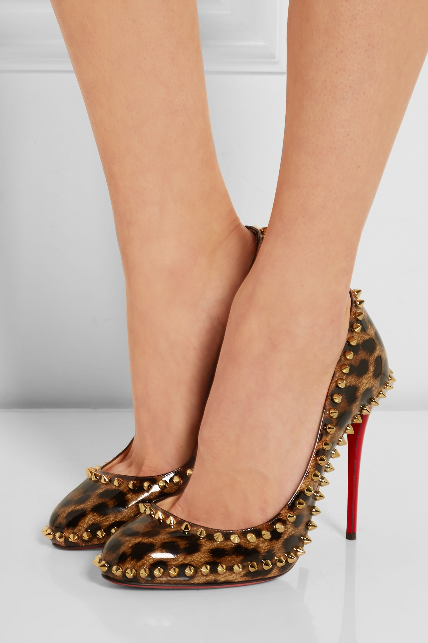 db0a8422afa Christian Louboutin Black Dorispiky 100 Studded Leopard-print  Patent-leather Pumps