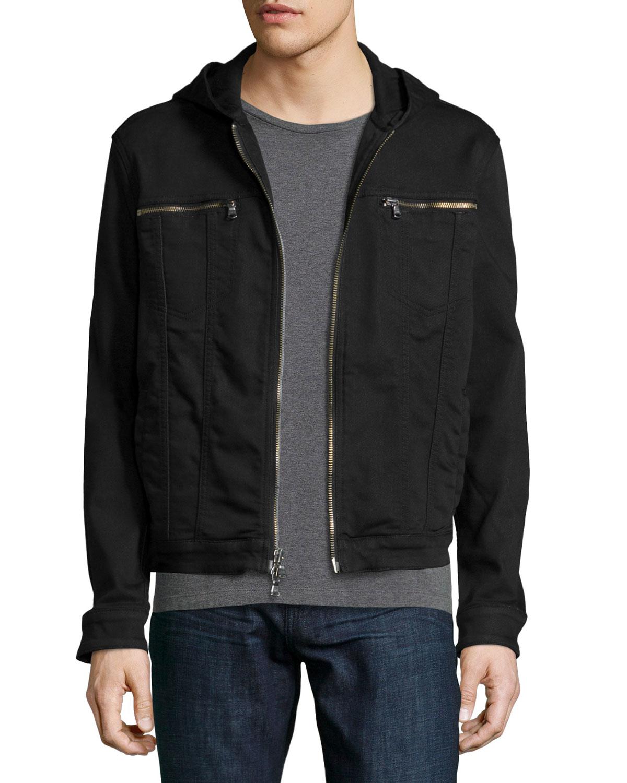 Lyst John Varvatos Zip Up Hooded Jean Jacket In Black For Men