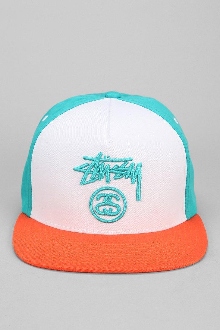 d48ee34fc85 Lyst - Stussy Colorblock Snapback Hat in Orange for Men