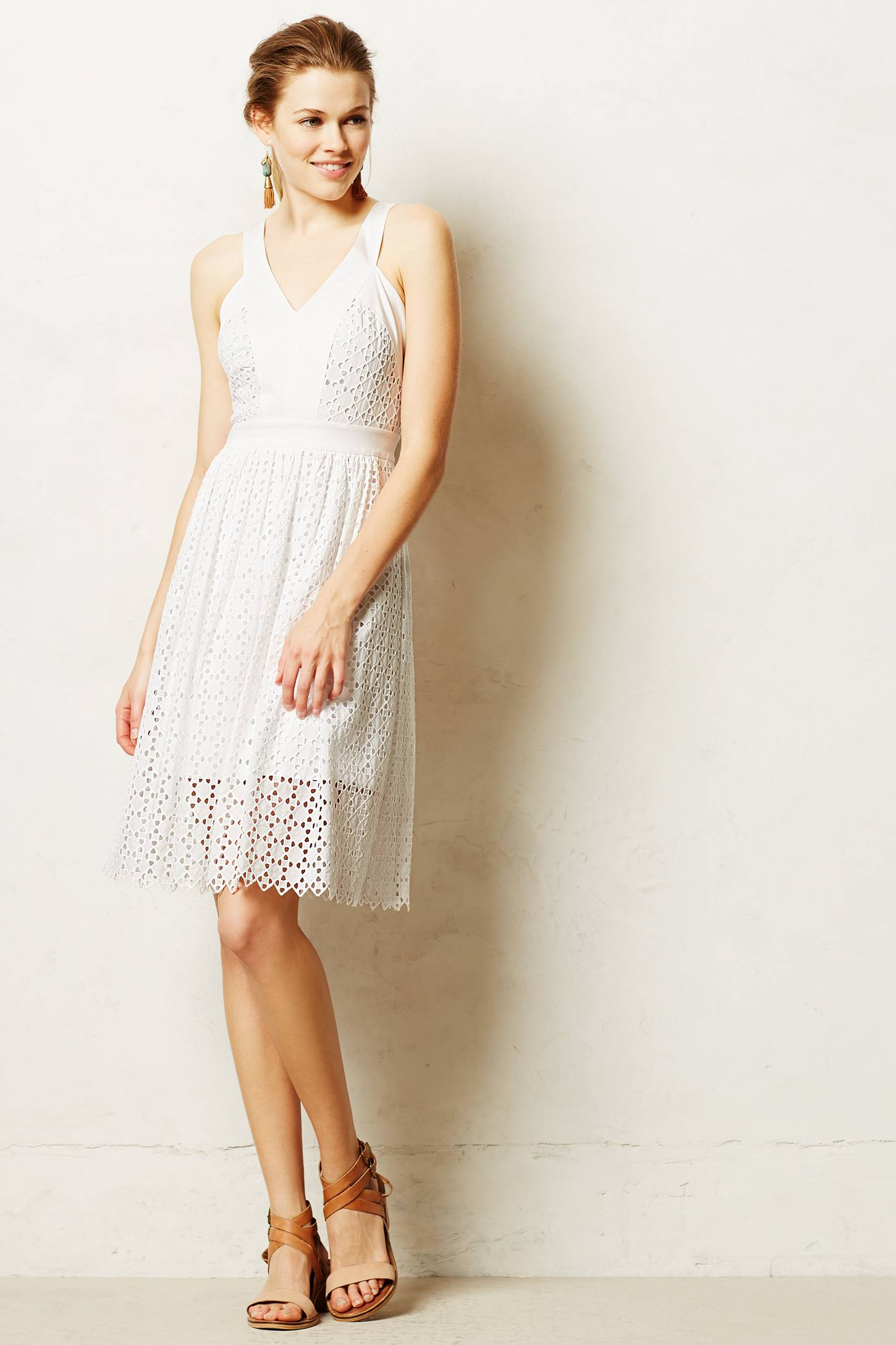 Anthropologie Lila Eyelet Dress in White - Lyst