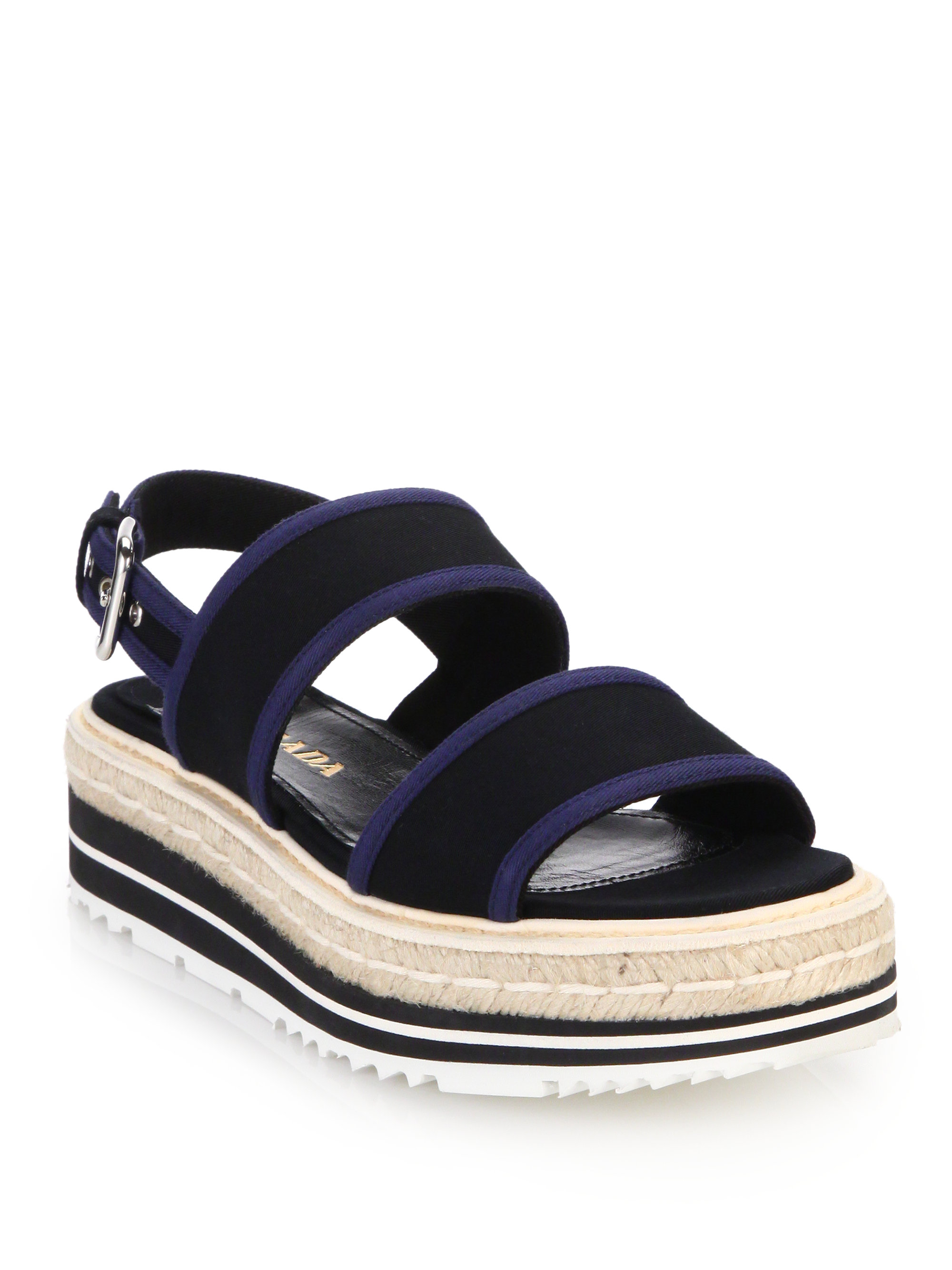 clearance get to buy sale cheap price Prada Canvas Flatform Espadrilles best seller cheap price discount online pdhpj4