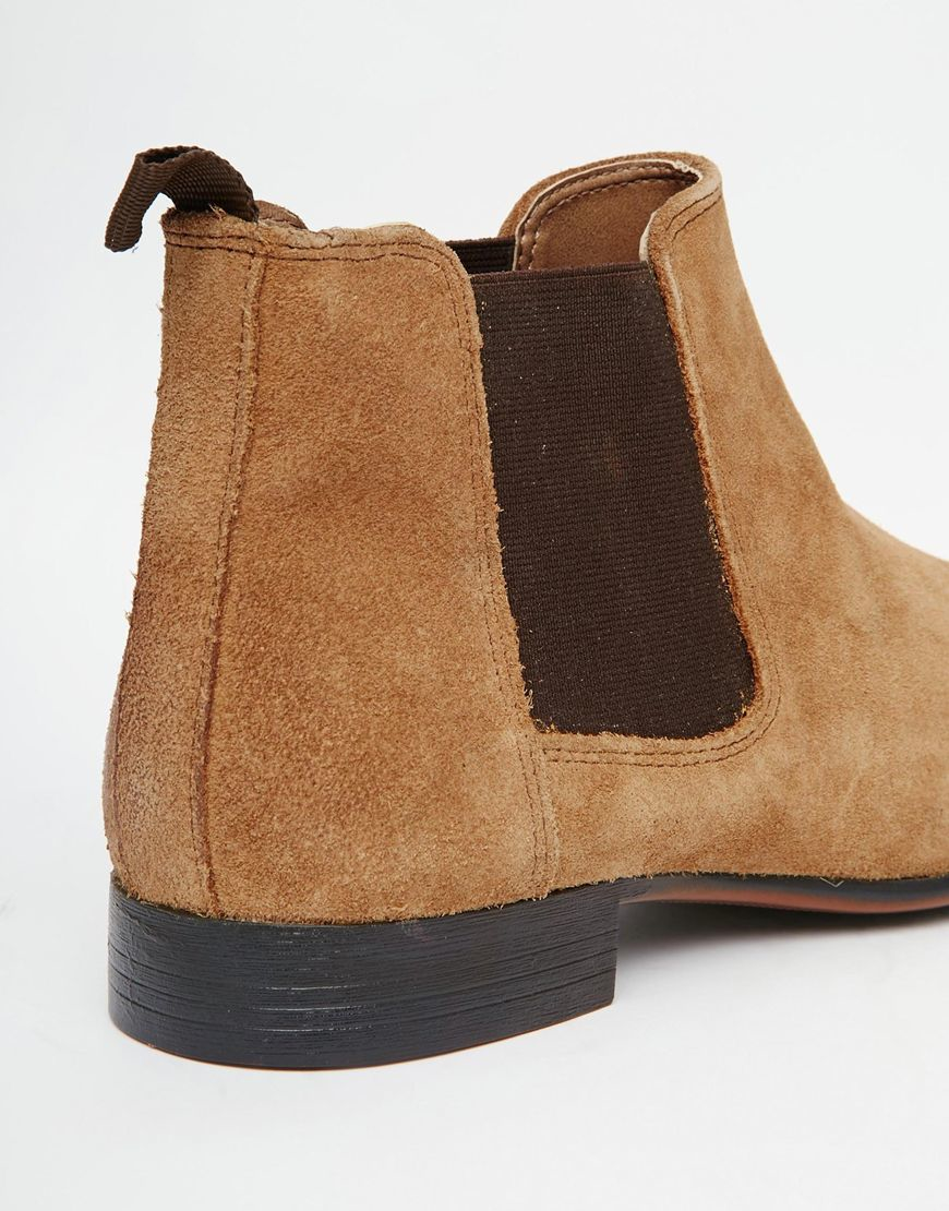asos chelsea boots in suede with back pull in brown