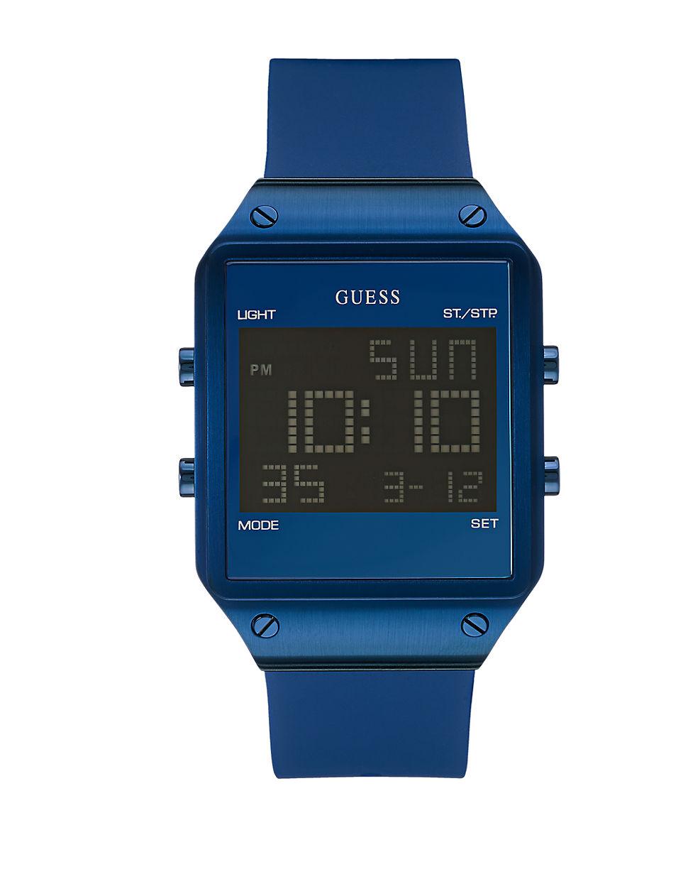 guess blue sleek digital in blue for lyst