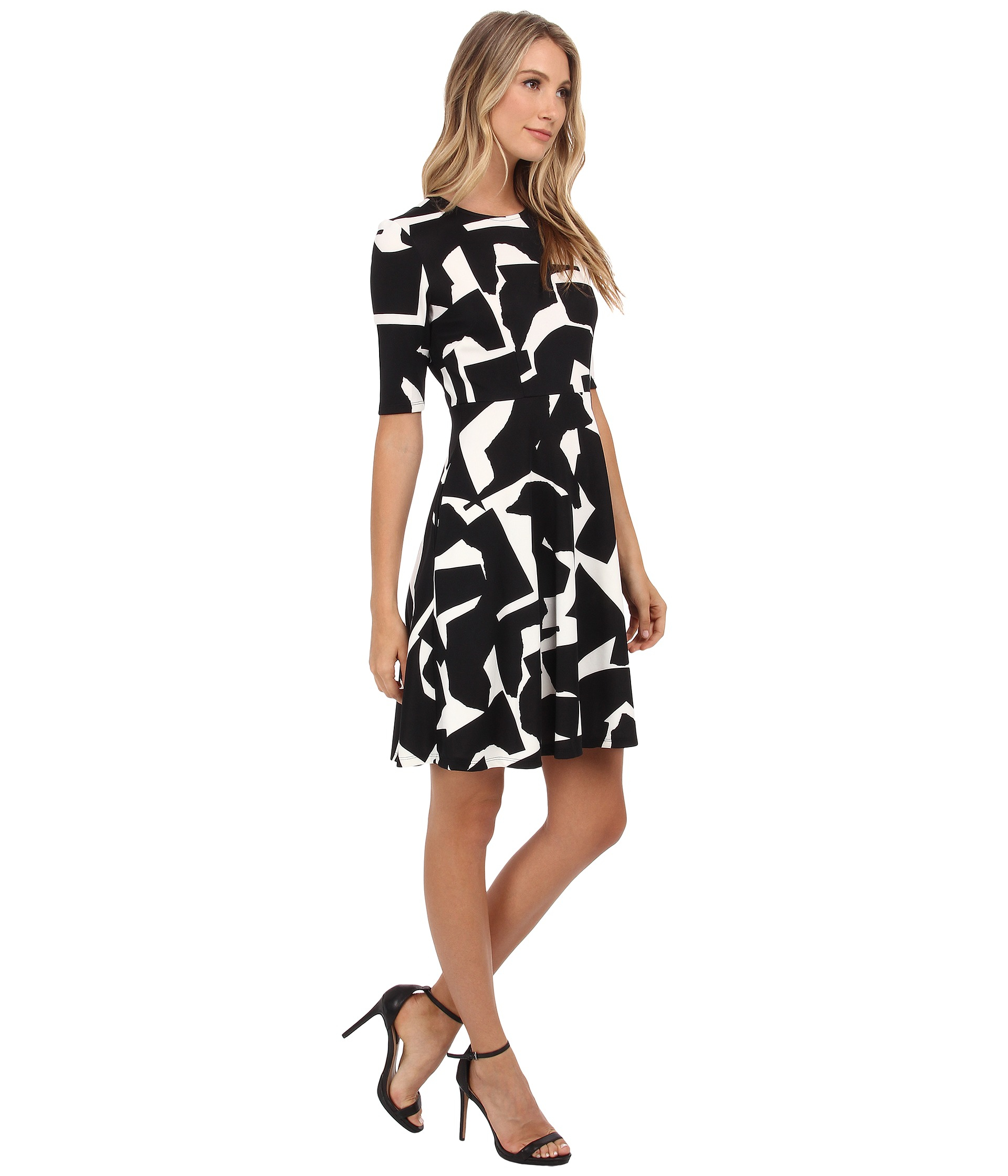 Donna Morgan Elbow Sleeve Printed Scuba Fit And Flare