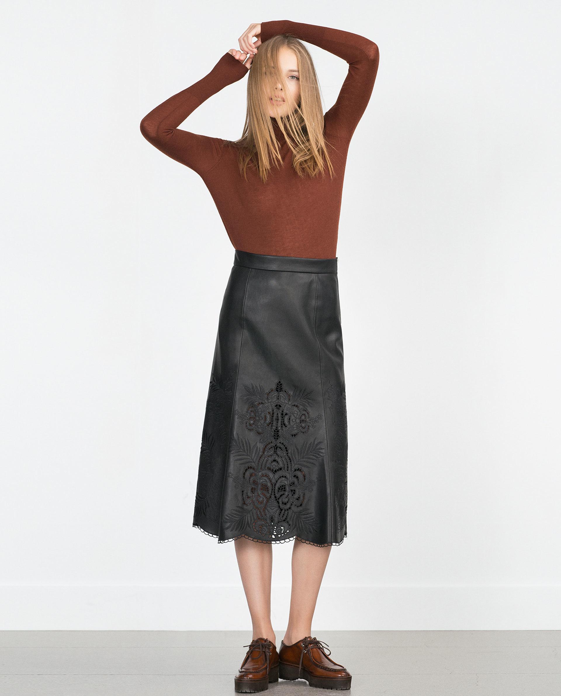Zara Faux Leather Skirt in Black | Lyst