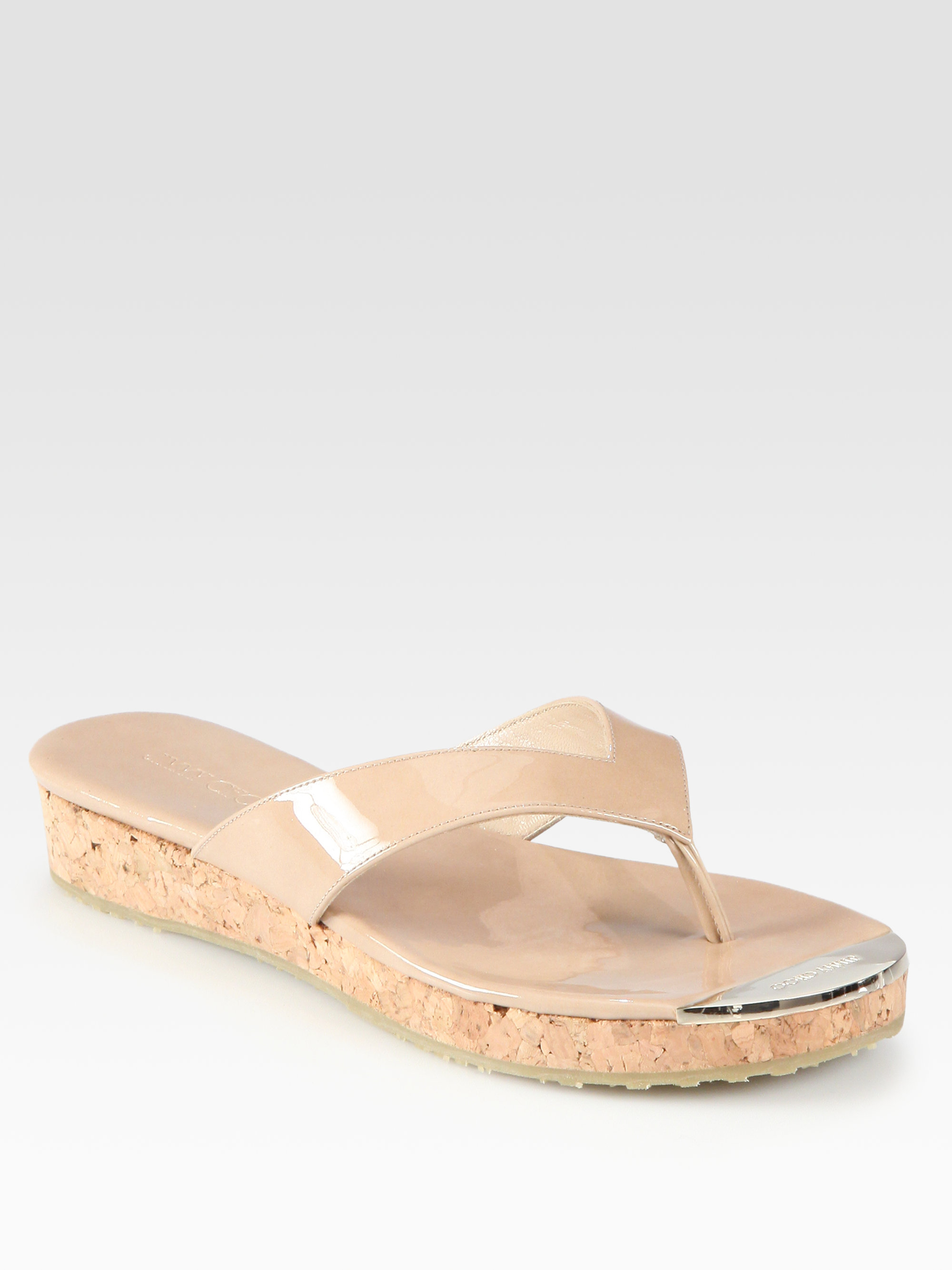 806a861eac10 Lyst - Jimmy Choo Pence Patent Leather Cork Wedge Sandals in Natural