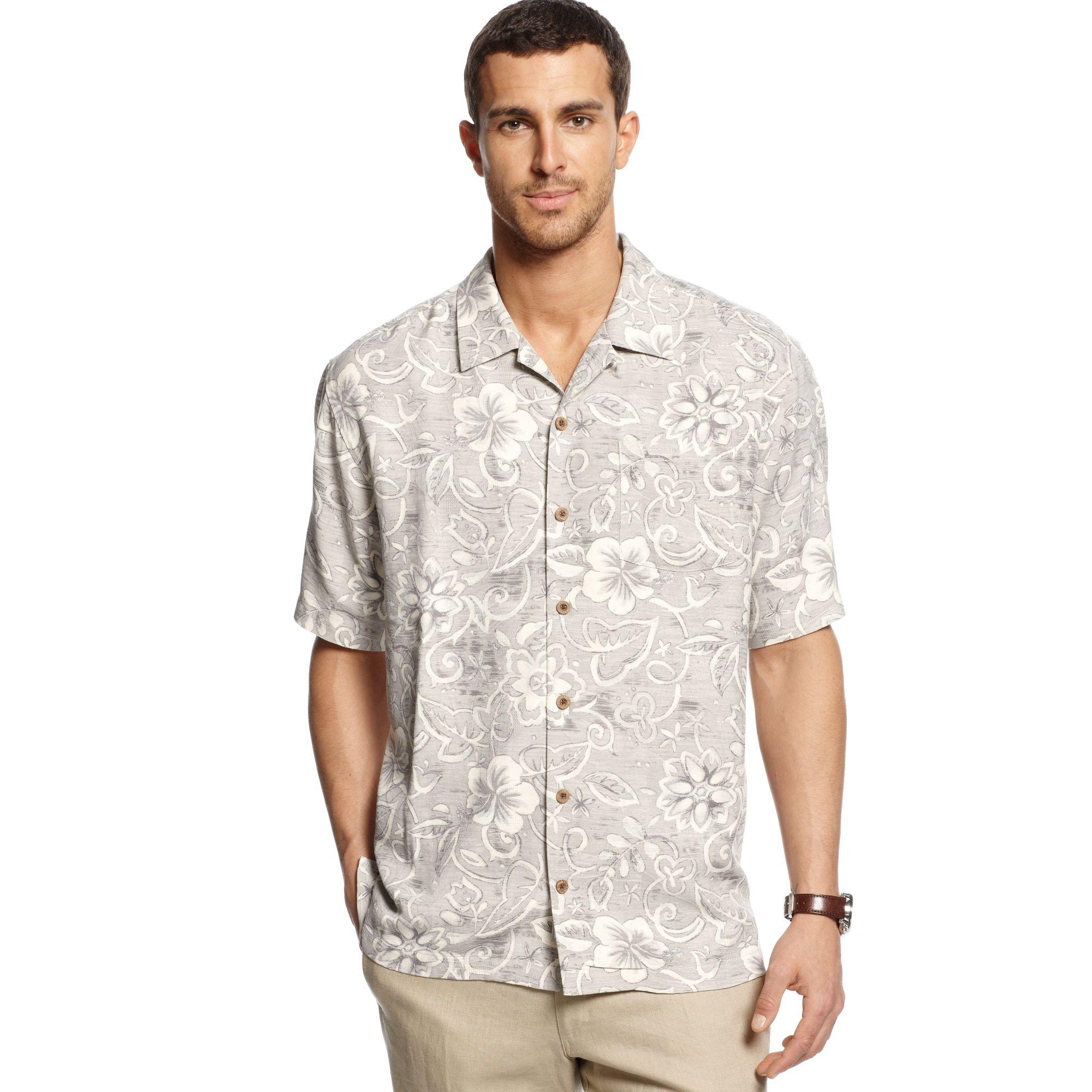 tommy bahama short sleeve swirlpool shirt in beige for men