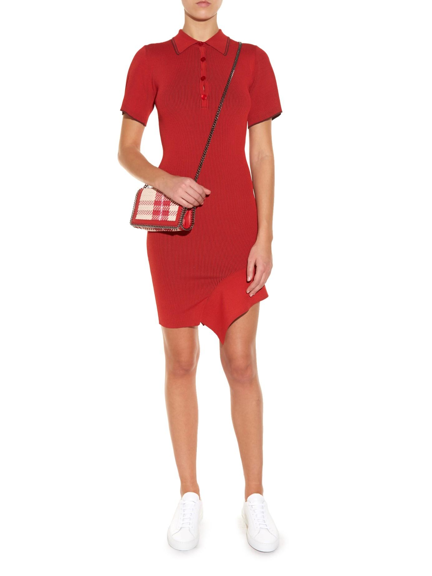 Stella Mccartney Cutaway Hem Crepe Polo Dress In Red Lyst