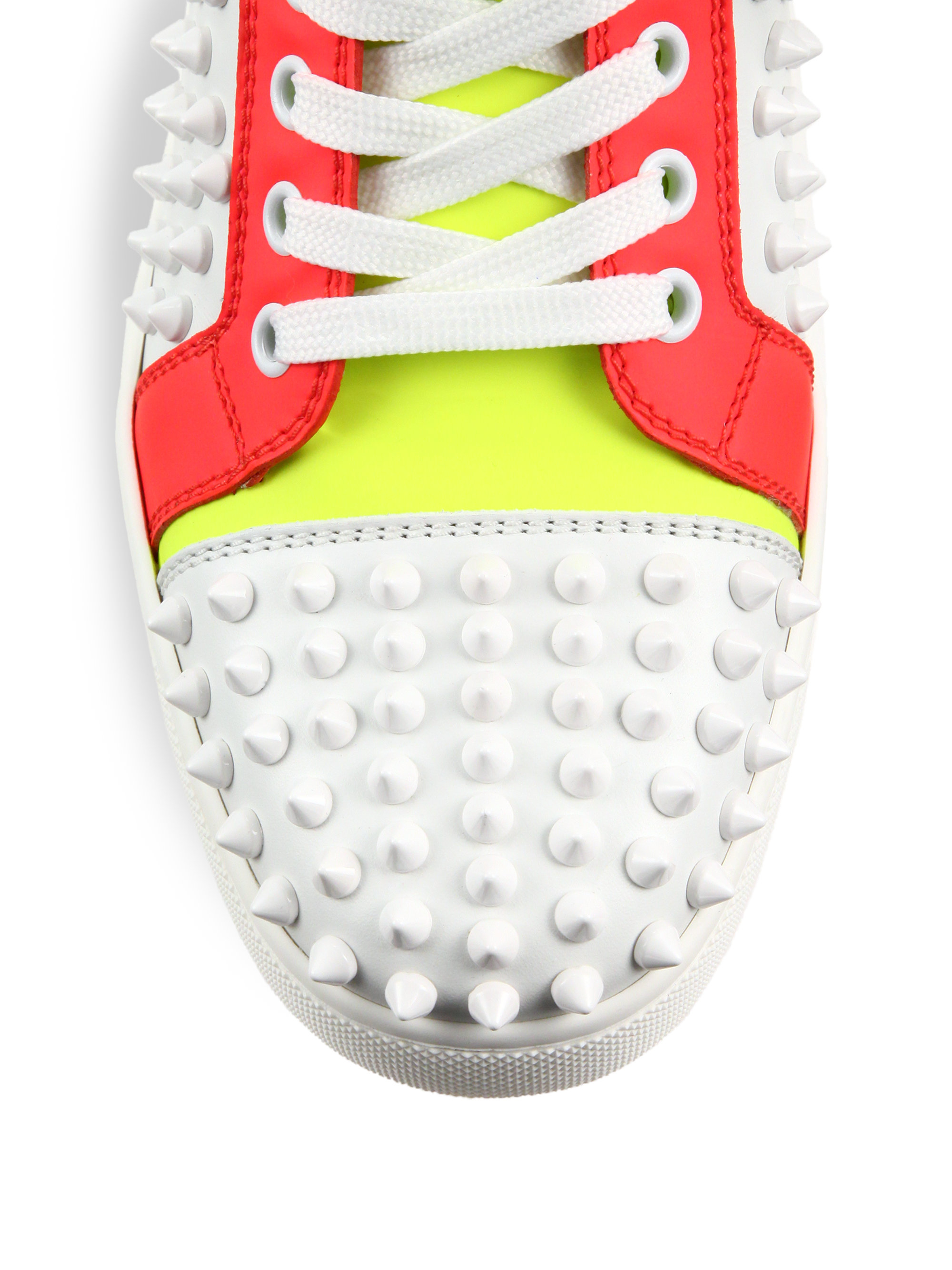 separation shoes 5a4af 6bd0e Women's White Louis Woman Studded Colorblock Leather Sneakers