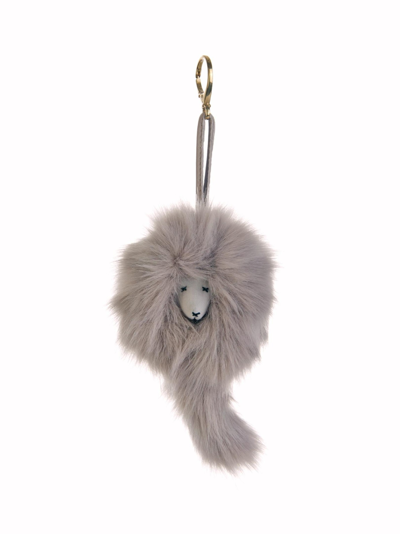 Lyst Shrimps Lenny Mascot Faux Fur Bag Charm In Gray 8cf5b3f87f393