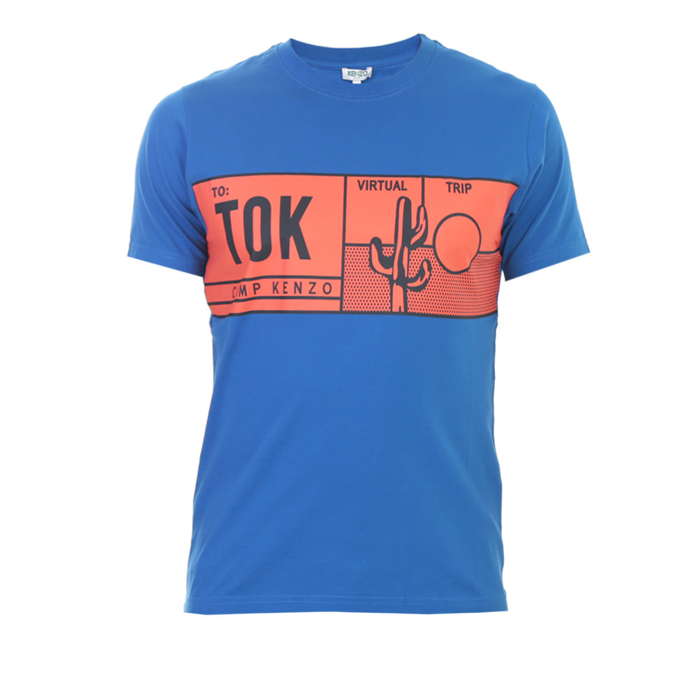 lyst kenzo electric blue printed cotton t shirt in blue for men. Black Bedroom Furniture Sets. Home Design Ideas