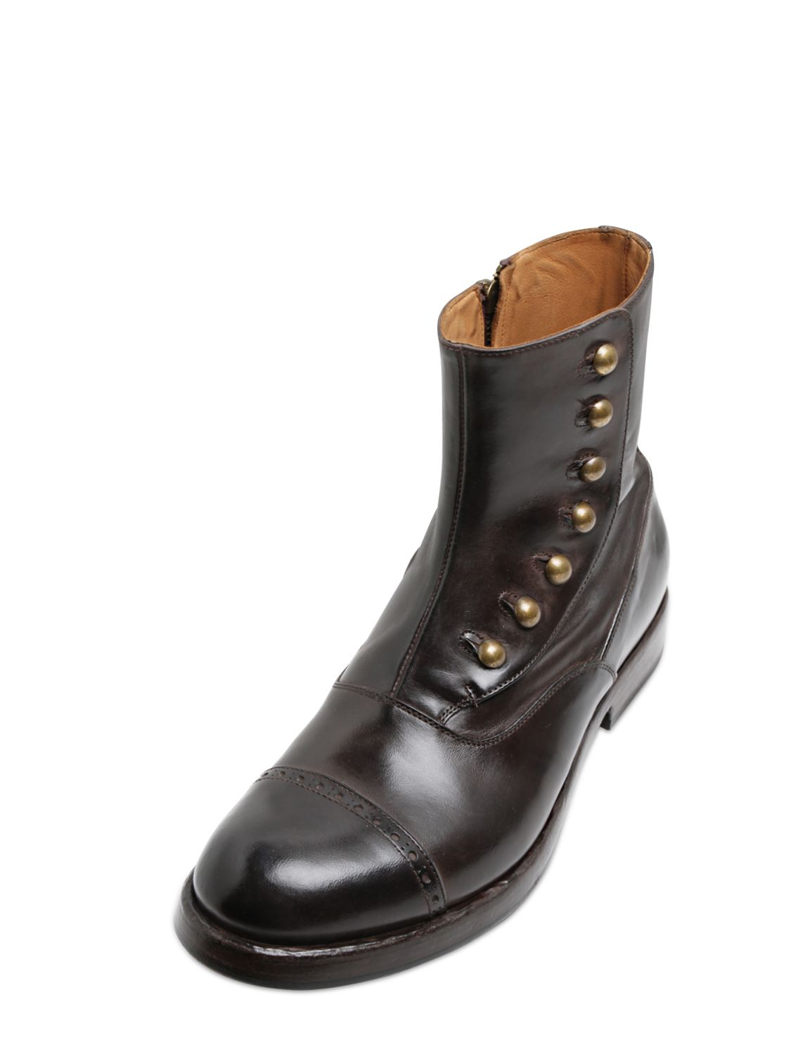 Lyst Officine Creative Brushed Leather Boots In Brown