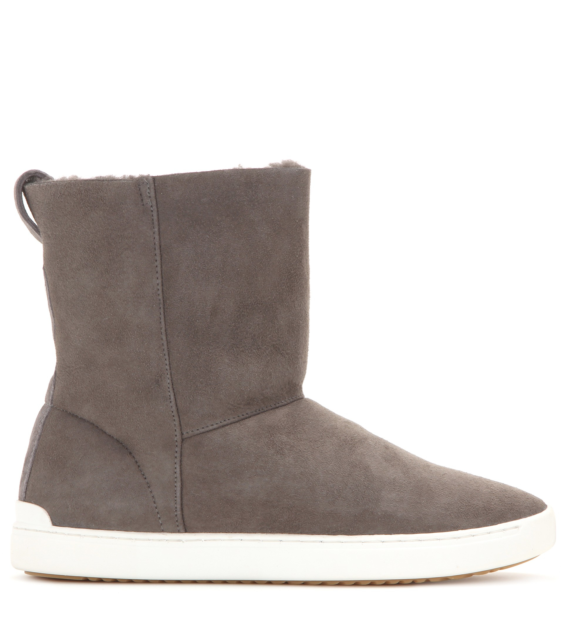 Rag & Bone Kali Shearling-Lined Ankle Boots in Granite Suede (Grey)
