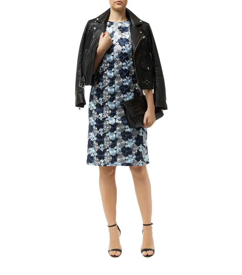 Dkny embroidered lace shift dress in blue lyst
