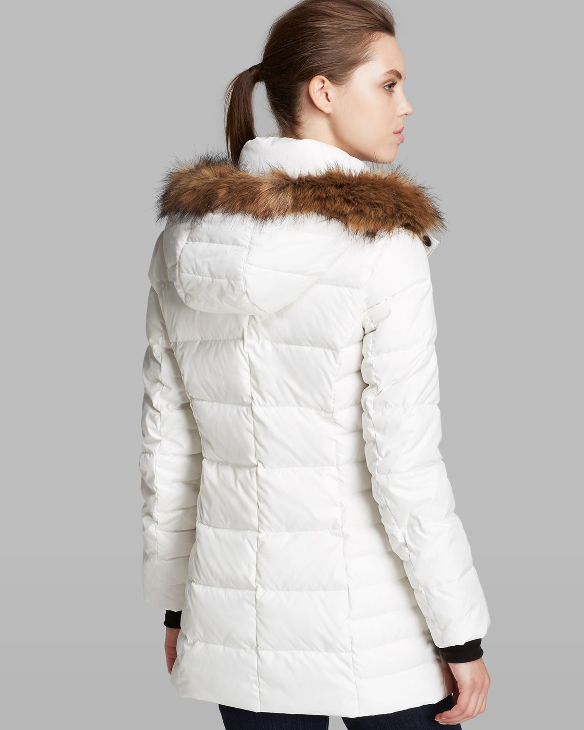 Marc new york Coat - Paris With Coyote Fur Trim Hood in White | Lyst