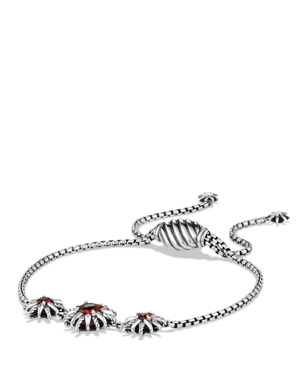 David Yurman Starburst Bracelet With Garnet In Red Silver