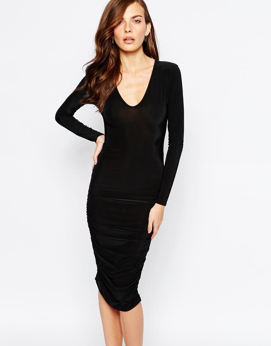 Lyst Club L Essentials Plunge Neck Midi Dress With