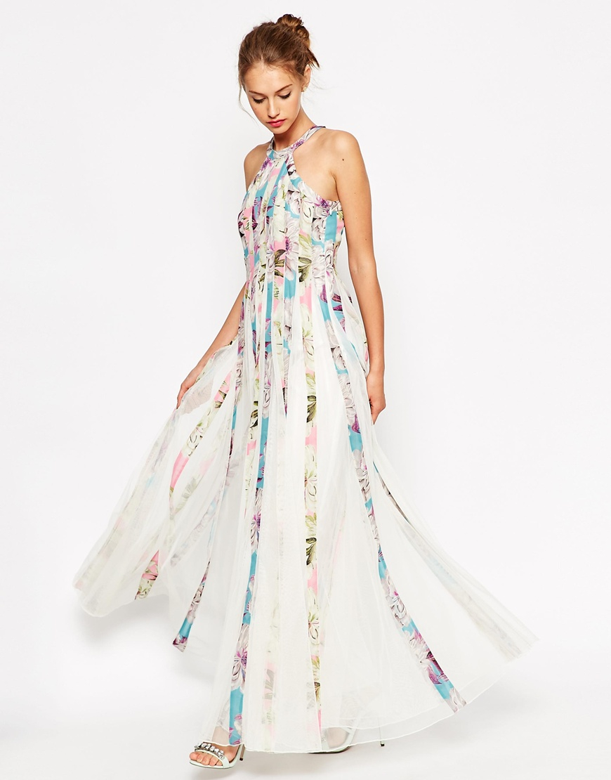 Asos Mesh Fit And Flare Maxi Dress In Floral Print Lyst