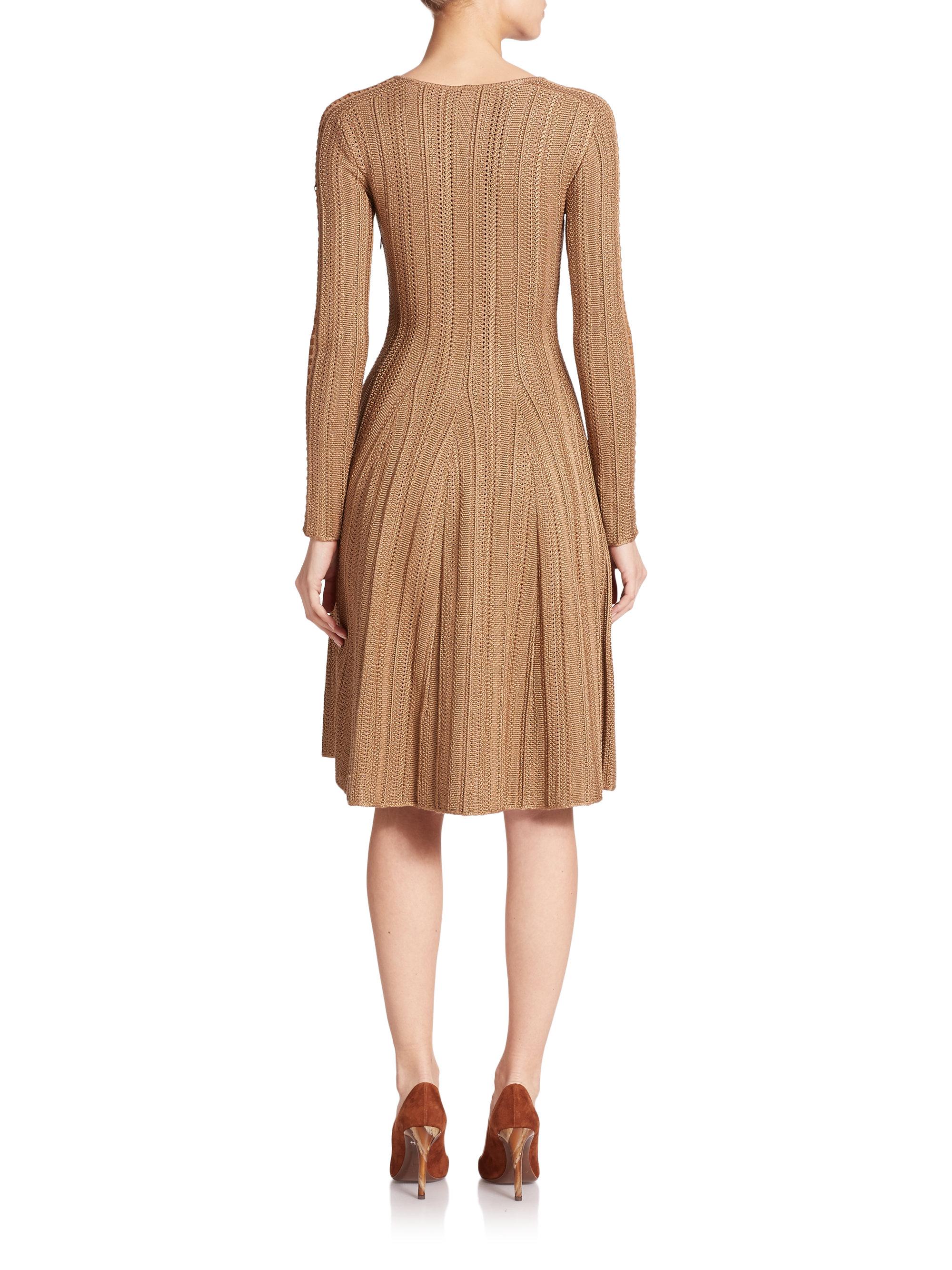 Ralph Lauren Suede Trimmed Silk Knit Dress In Camel Brown