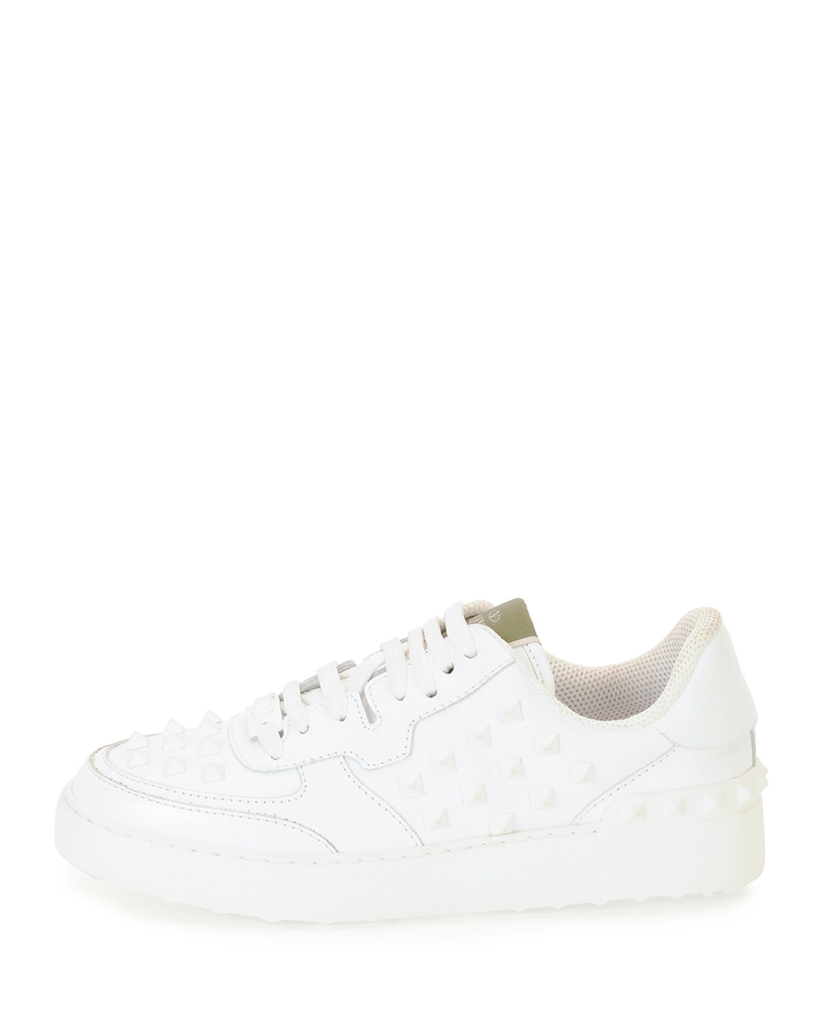 valentino rockstud leather lace up low top sneaker in