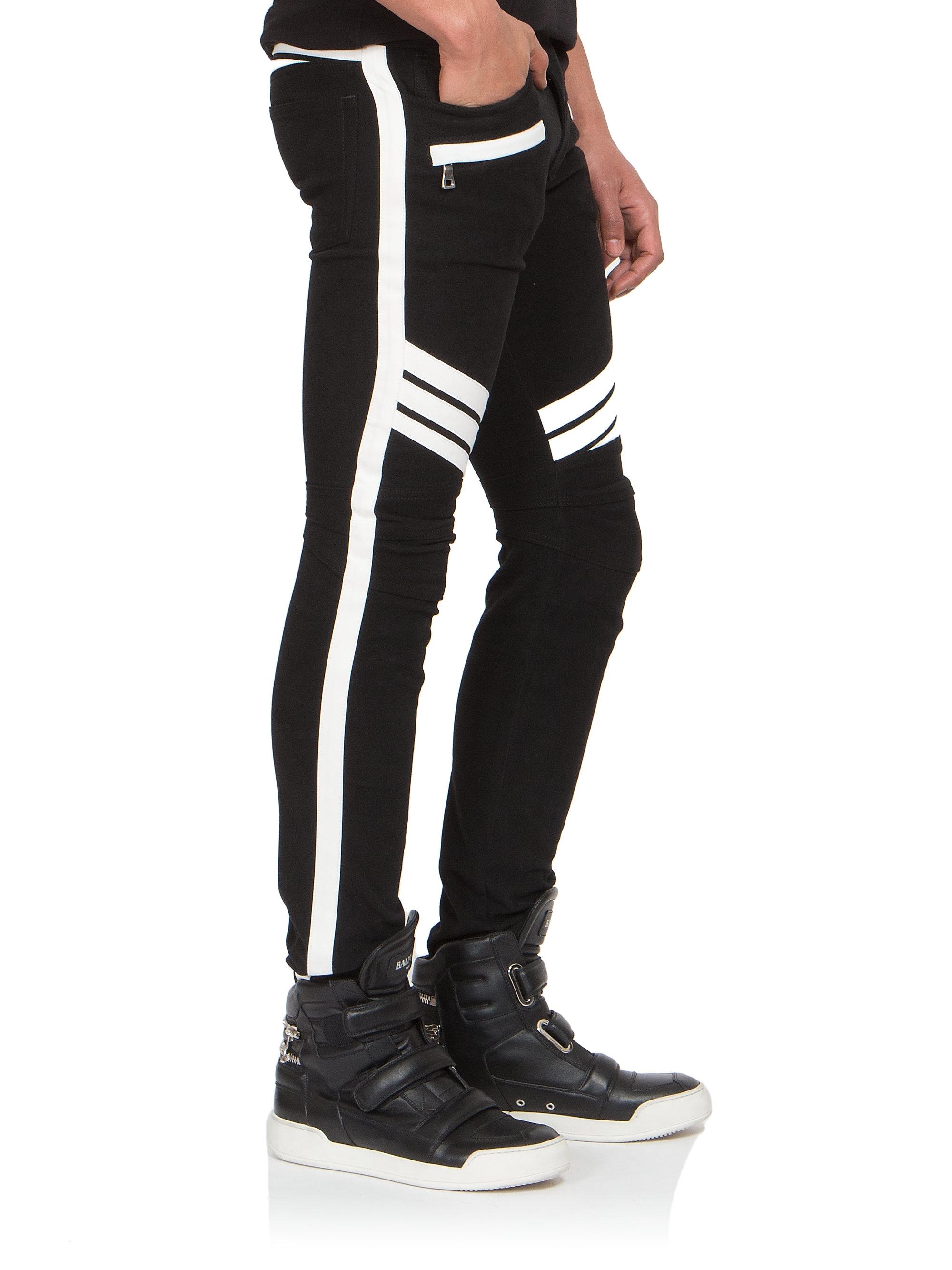 3e9d11ea5b Balmain Racing Stripe Moto Slim Jeans in Black for Men - Lyst