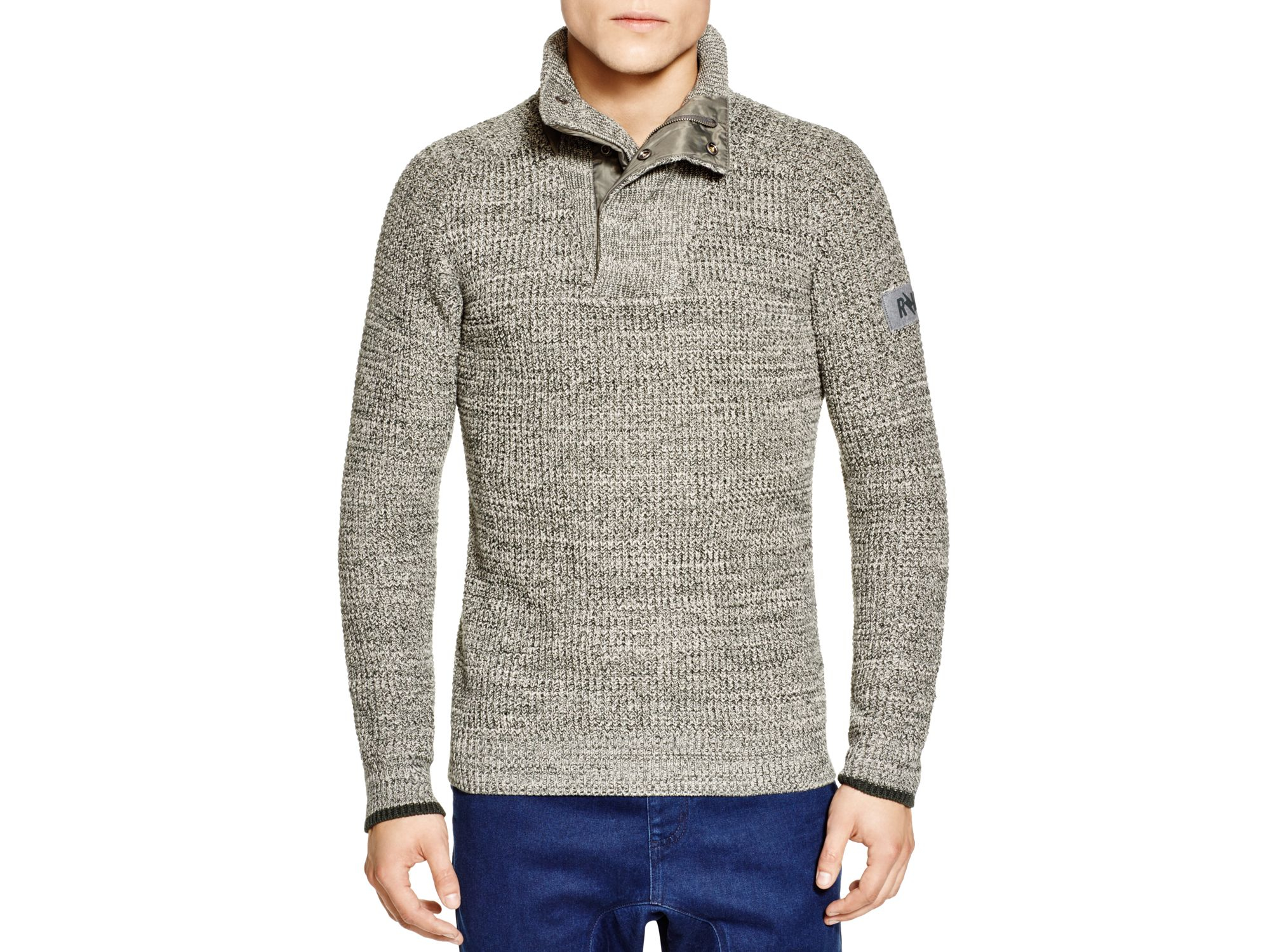 g star raw avihu quarter zip sweater in metallic lyst. Black Bedroom Furniture Sets. Home Design Ideas