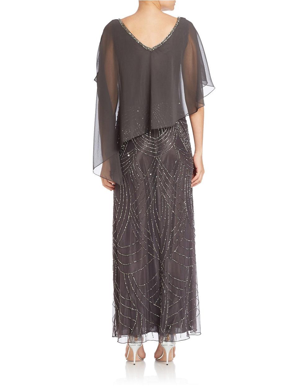 Lyst - J Kara Asymmetrical Popover Gown in Gray