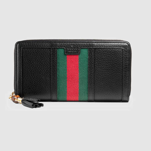 9176d9a285b4 Gucci Rania Leather Zip Around Wallet in Black - Lyst