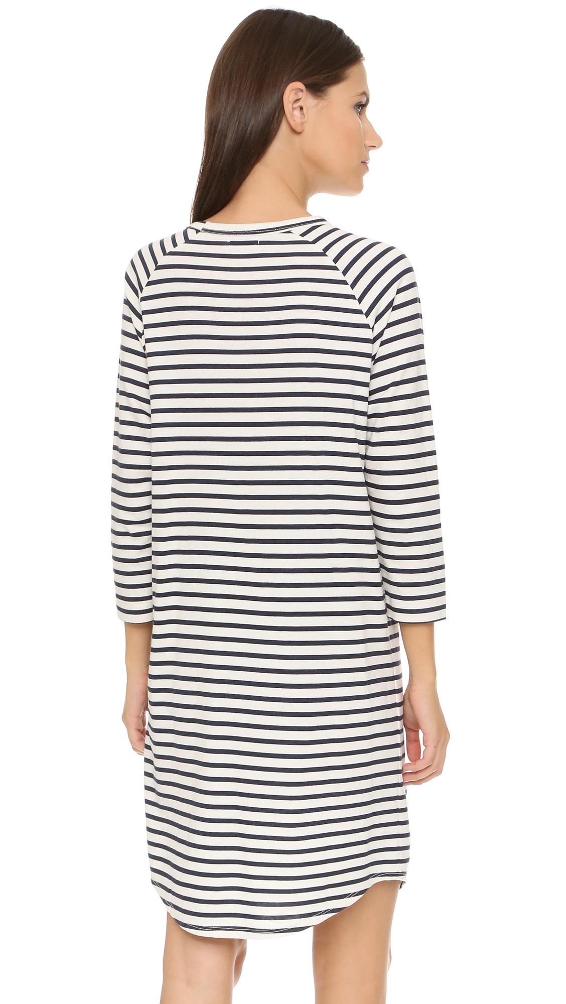 Lyst 6397 Stripe Long Sleeve Dress In Blue