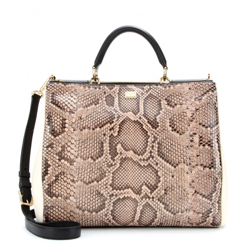 Dolce   Gabbana Sicily Shopper Python and Leather Tote - Lyst 2ce279ea8610b