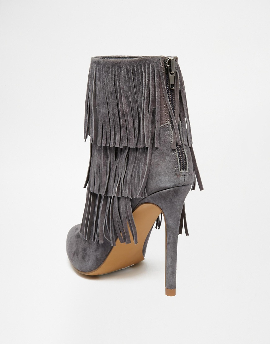 168bc14b931 Lyst - Steve Madden Flapper Fringed Heeled Suede Boots in Gray