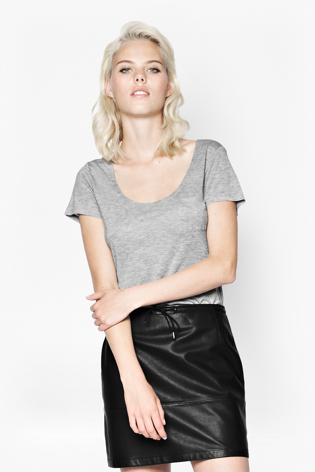 Lyst french connection autumn candy t shirt in gray for French connection t shirt dress