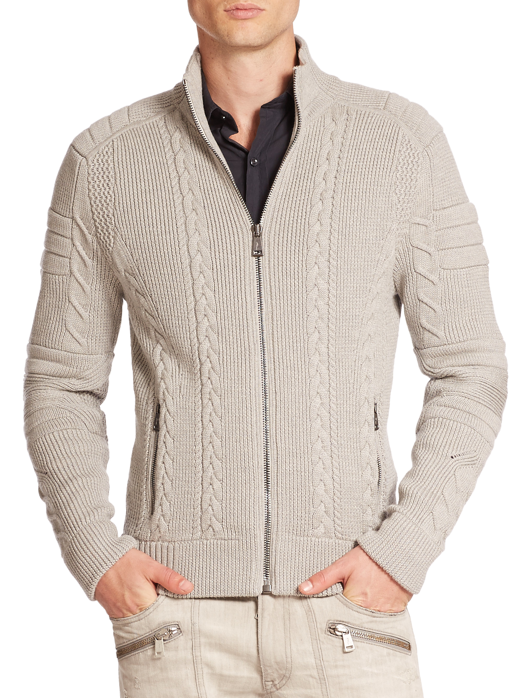 Ralph lauren black label Ribbed Merino Cable-knit Sweater in Gray ...