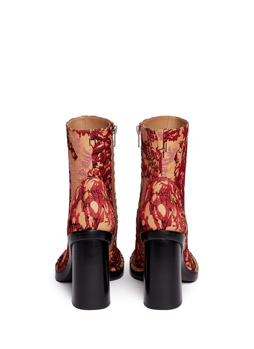 Ann Demeulemeester Foliage Jacquard Curve Heel Boots
