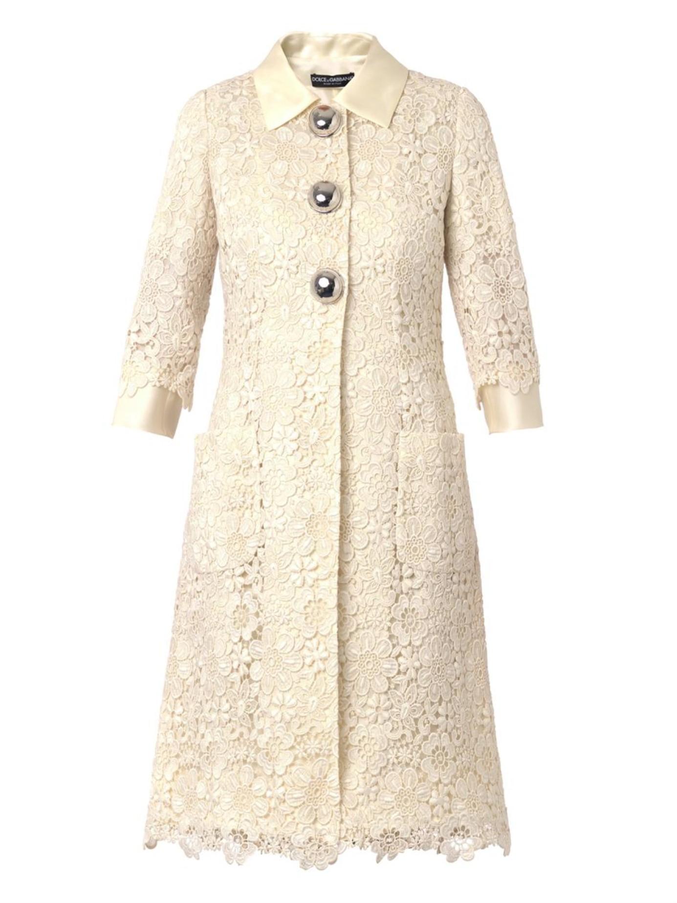 cd4ce1857d820 Lyst - Dolce   Gabbana Macramé Lace Coat in Natural