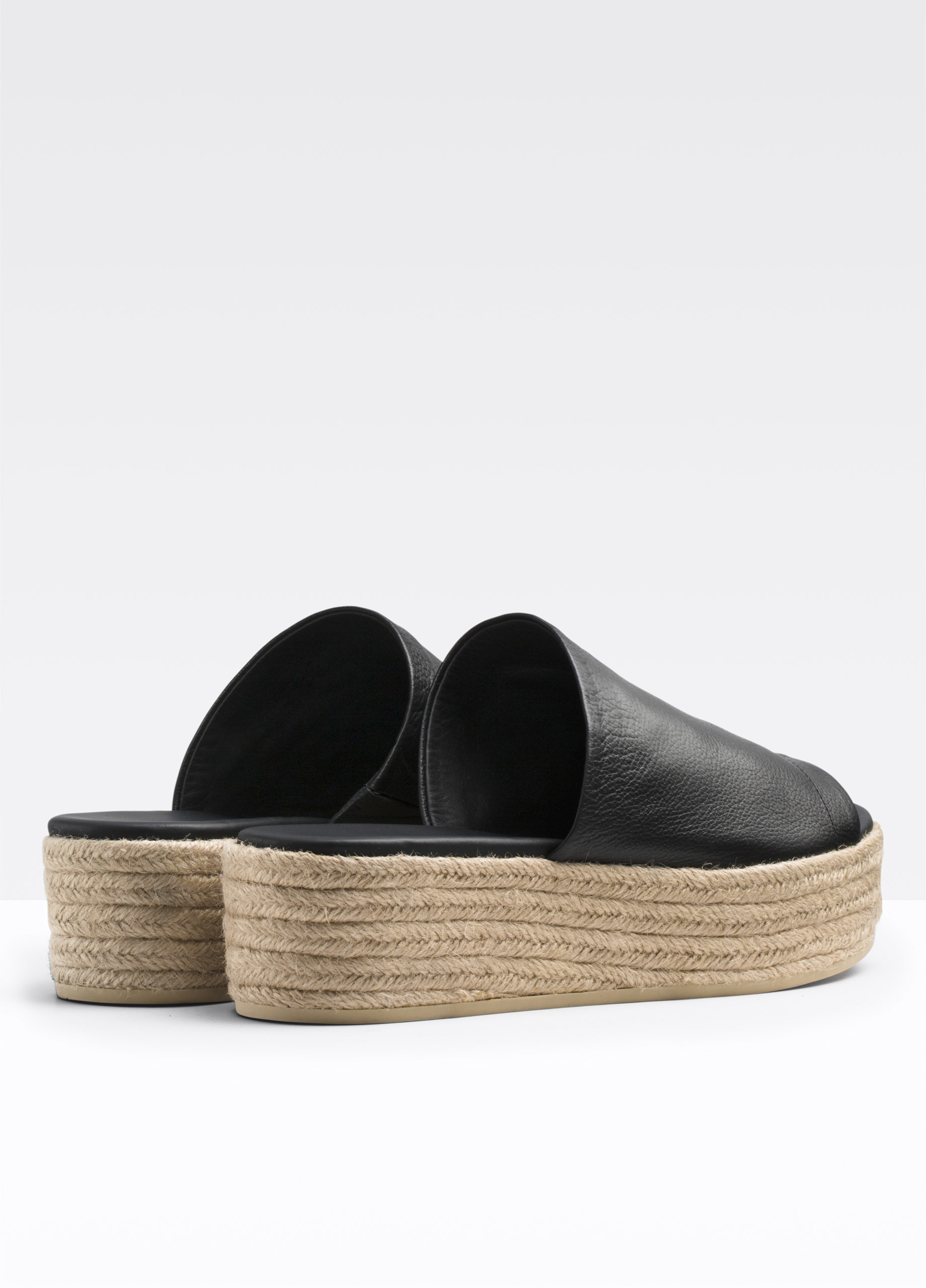 Vince Solana Leather Espadrille Flatform Sandal In Black