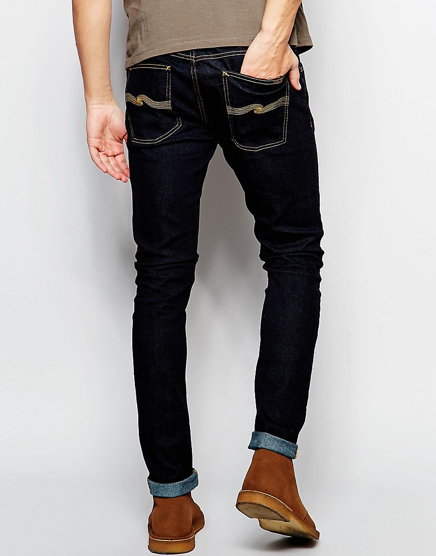 5e6966d5 Nudie Jeans Skinny Lin Super Skinny Fit Dry Deep Orange Dark Wash ...