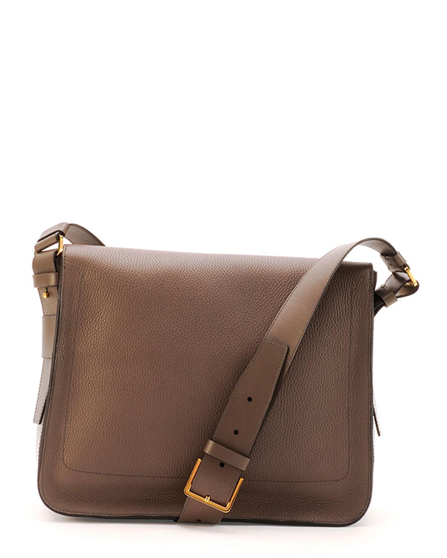 tom ford men 39 s leather messenger bag in gray for men grey. Black Bedroom Furniture Sets. Home Design Ideas