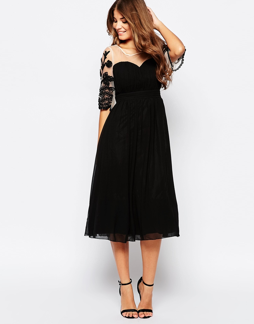 Little Mistress Midi Skater Dress With Embroidered Mesh Sleeves In Black