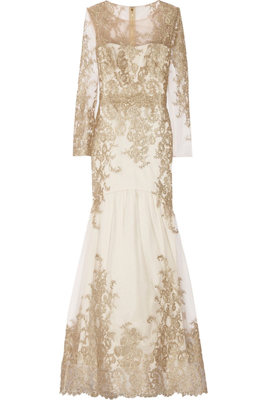Lyst notte by marchesa embroidered tulle gown in metallic
