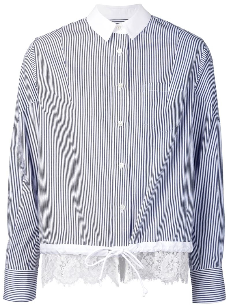 Lace Trimmed Sacai In Striped Lyst Shirt Blue 43RL5jqA