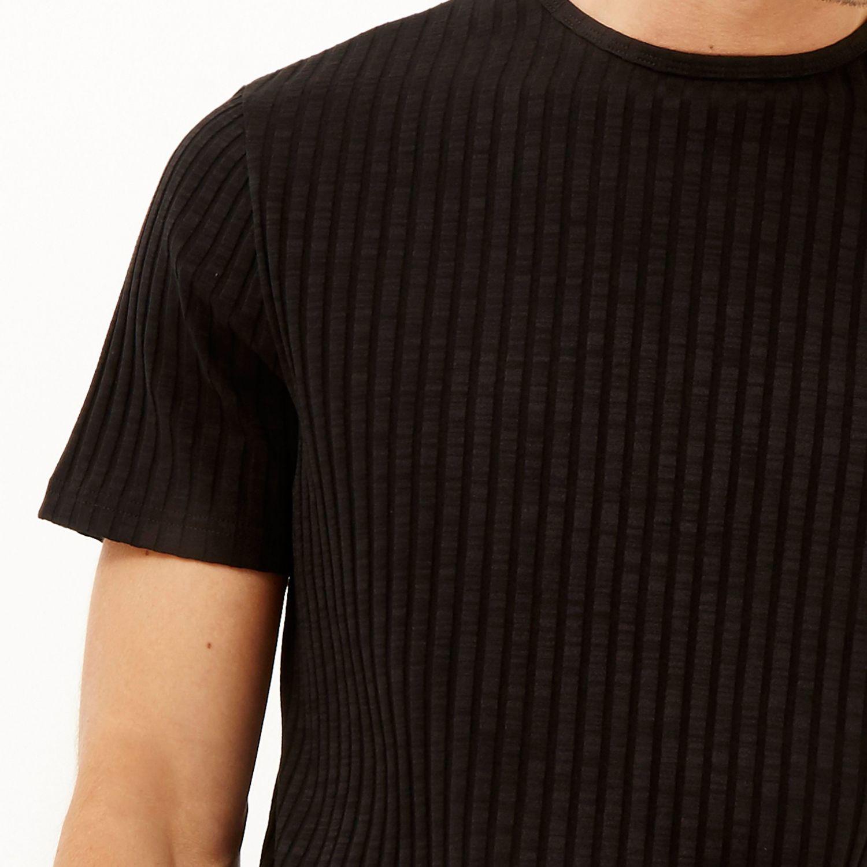 River Island Black Chunky Ribbed T Shirt In Black For Men