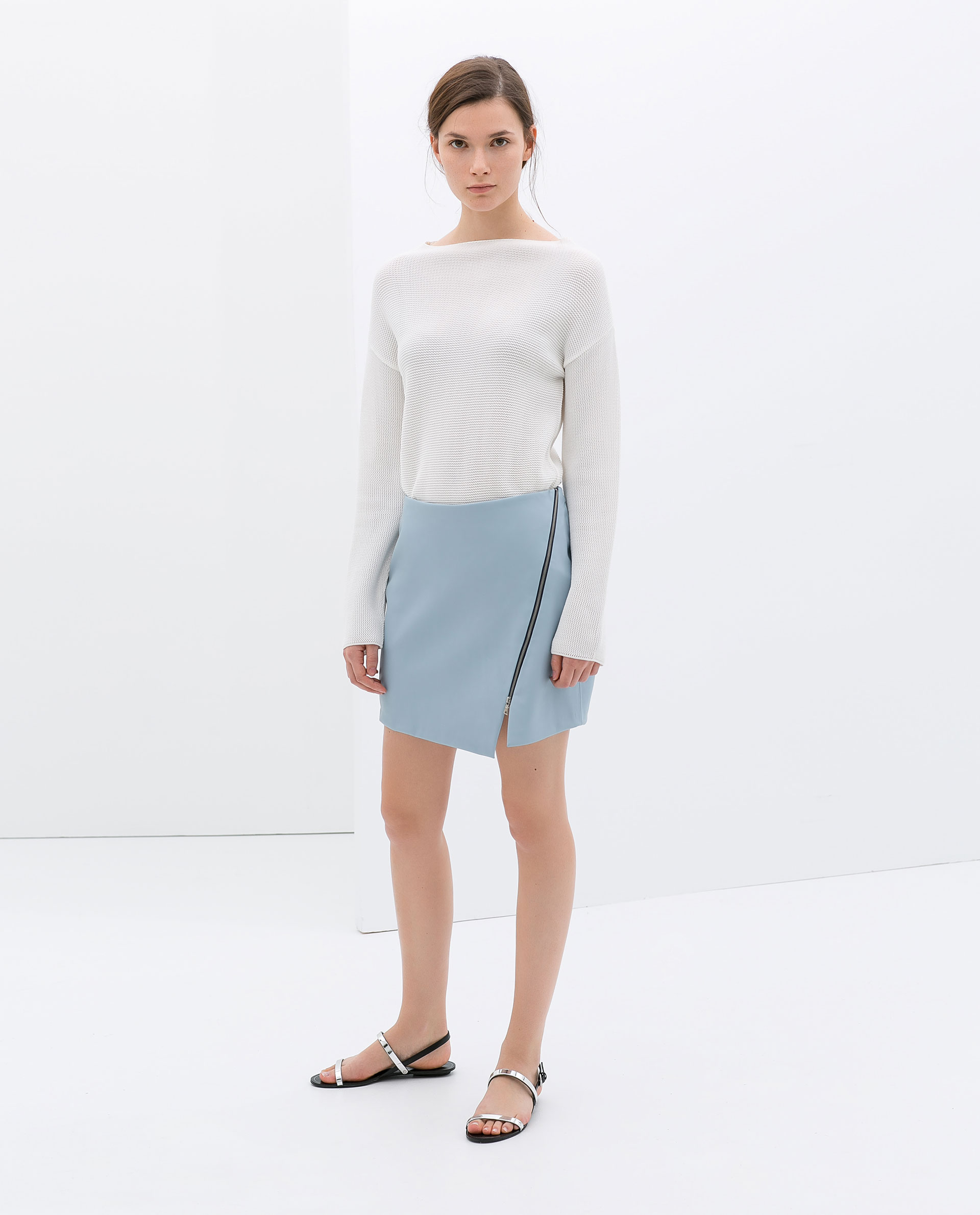 zara faux leather skirt with zip in blue lyst