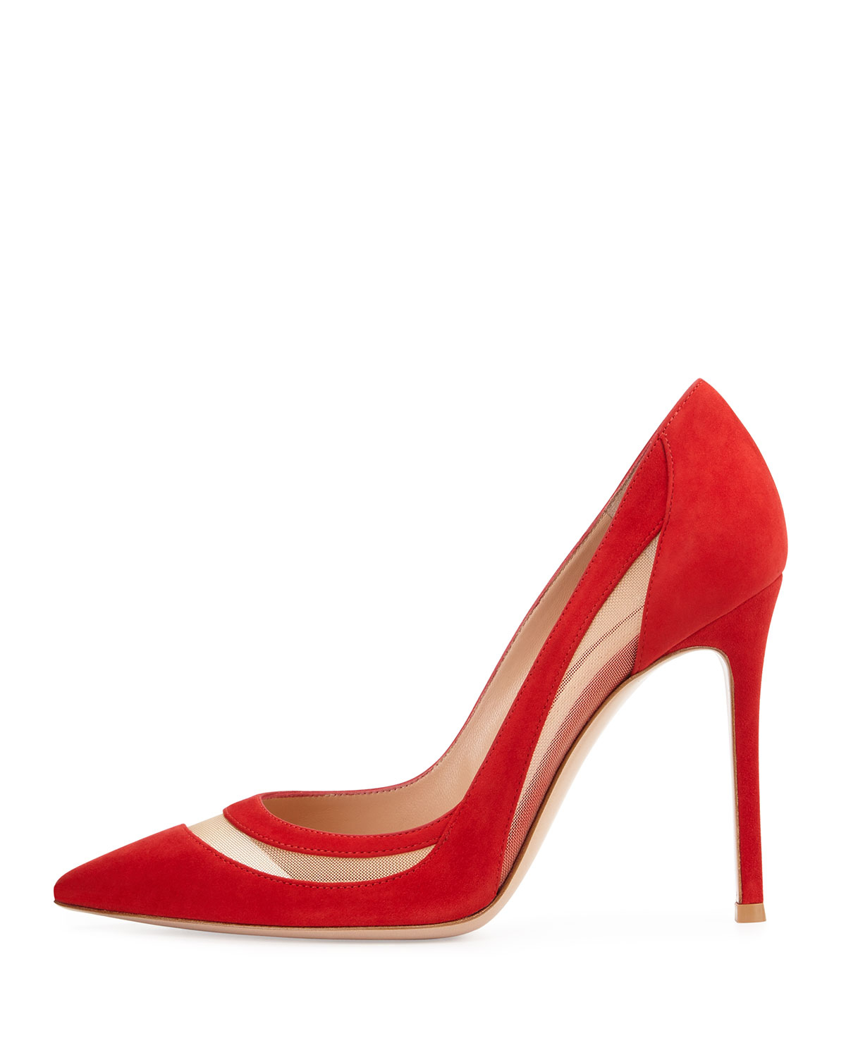 358f1168ffe4 Lyst - Gianvito Rossi Mesh-Insert Suede Pointed-Toe Pumps in Red