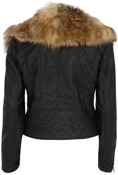River Island Black Faux Fur Collar Biker Jacket In Black