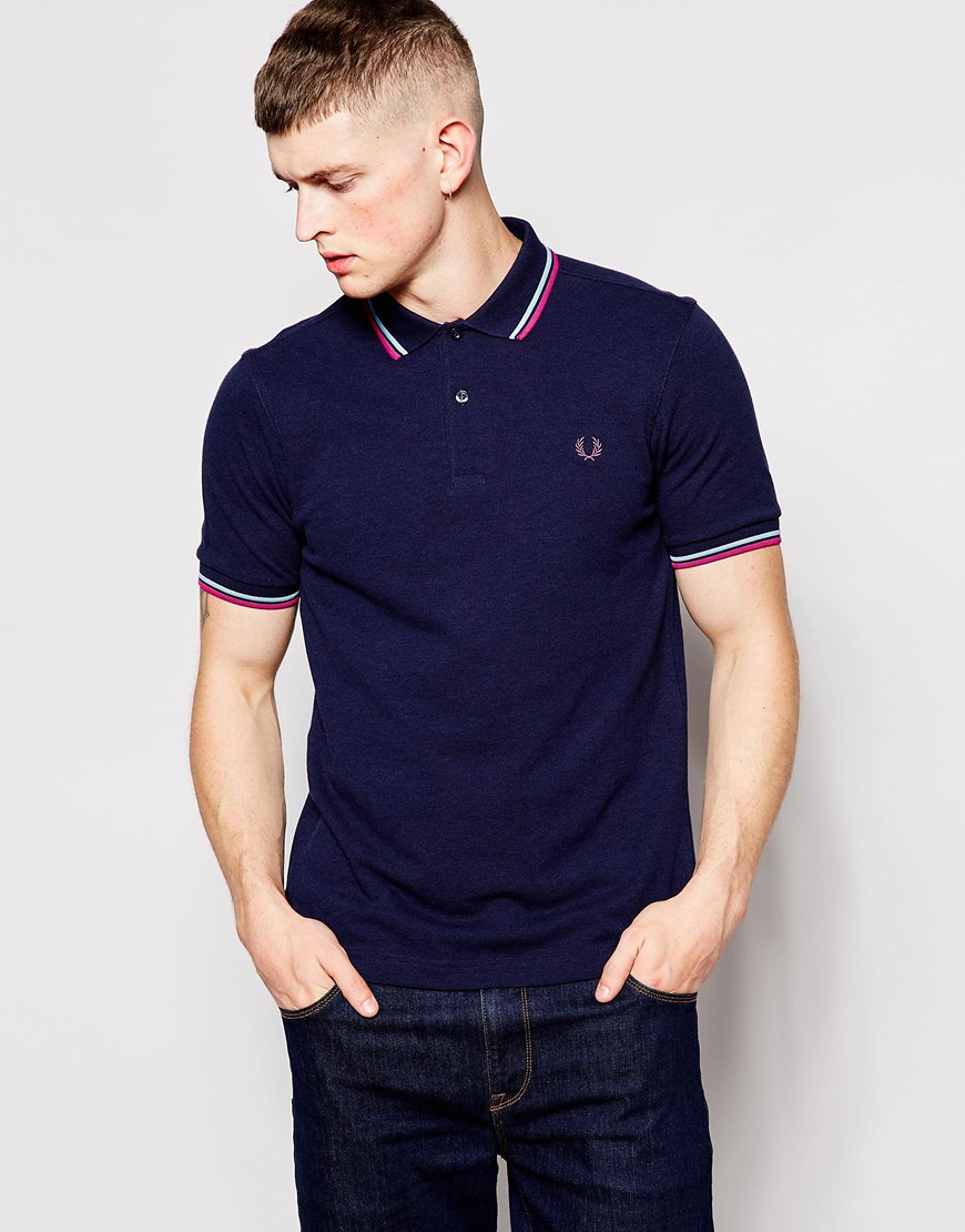 56fdbb711796d Lyst - Fred Perry Polo Shirt With Twin Tip In Slim Fit Dark Carbon ...