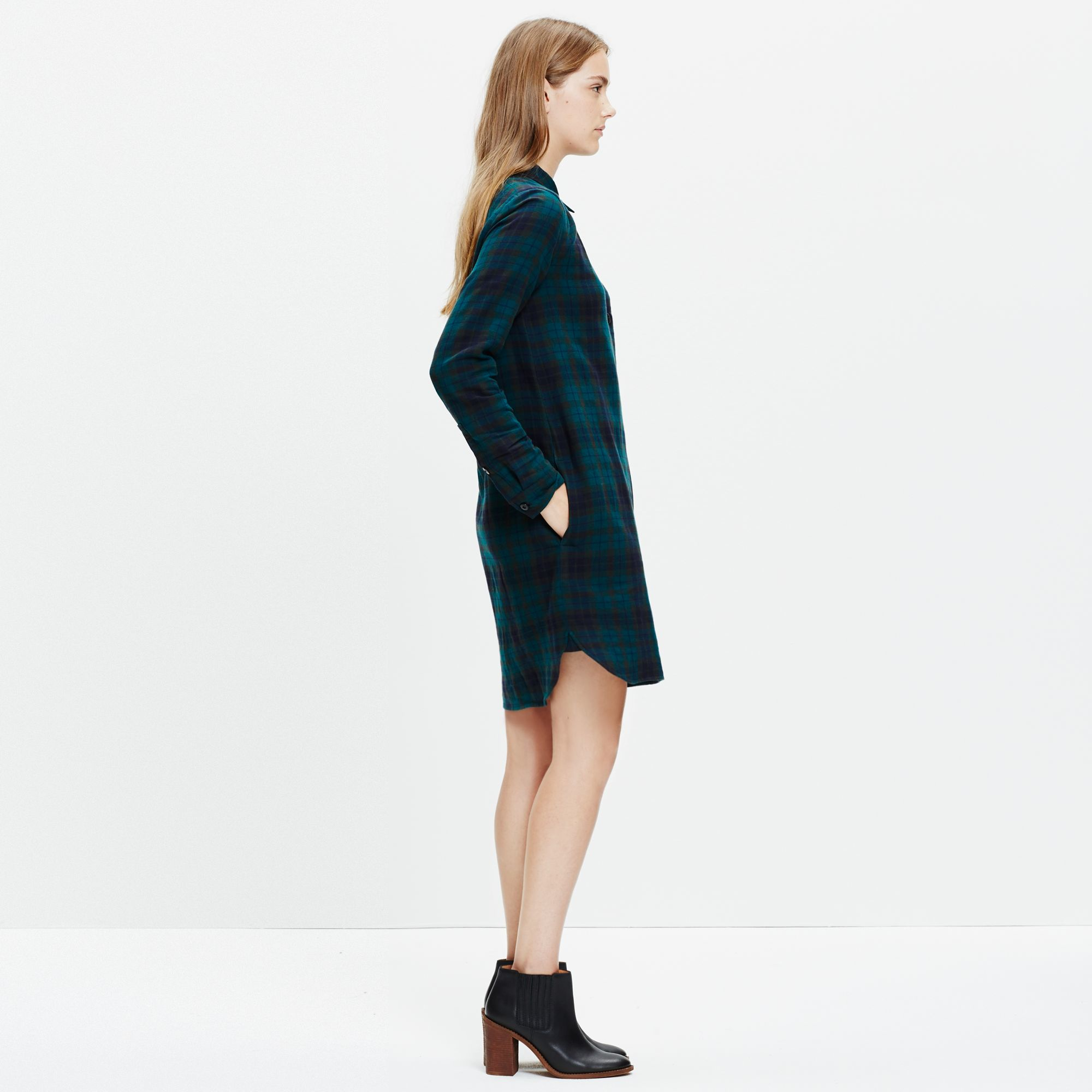 8feb6e3ccd5 Madewell Latitude Shirtdress In Alma Plaid in Green - Lyst