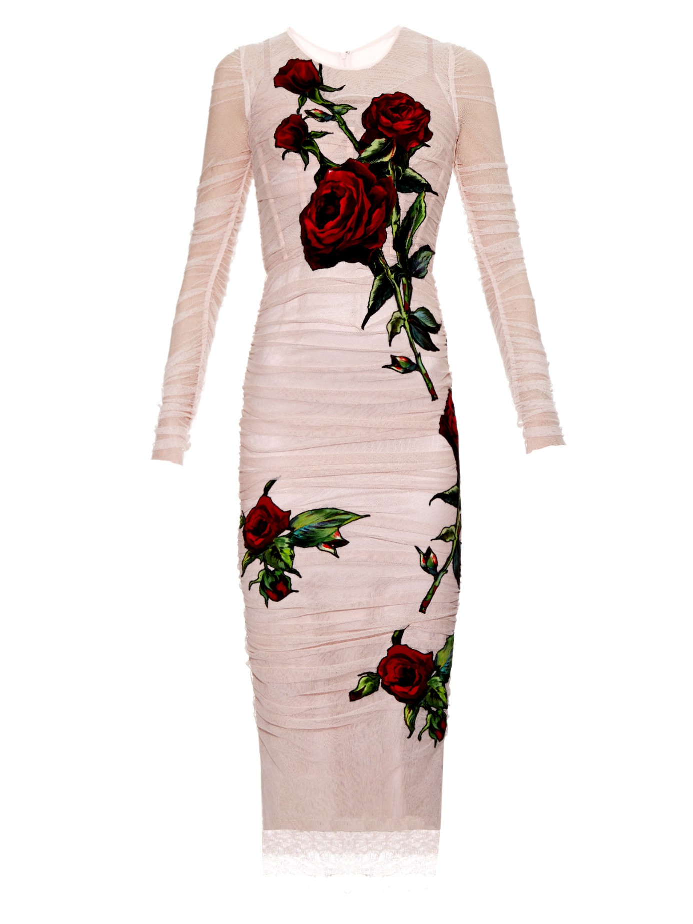 Lyst - Dolce u0026 Gabbana Rose-embroidered Tulle Dress in Pink