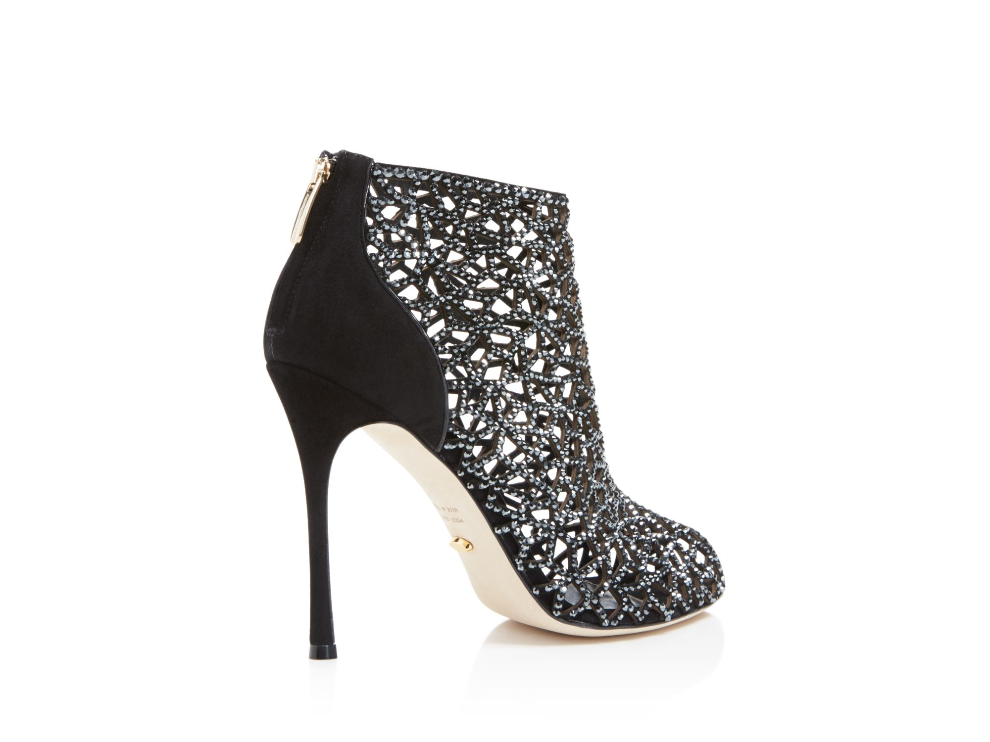 sergio rossi swarovski crystal tresor open toe high heel booties in black lyst. Black Bedroom Furniture Sets. Home Design Ideas