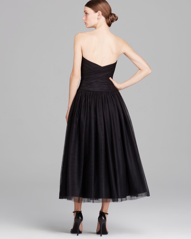Gown Dressing Chauffaun: ML Monique Lhuillier Dress Strapless Tulle Tea Length In